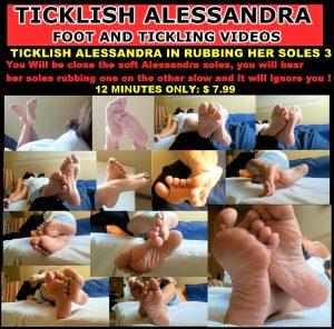 Ticklish Alessandra in rubbing her soles 3